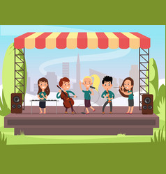 kids music band playing on stage at outdoor vector image vector image