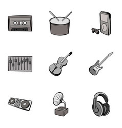 playing song icons set gray monochrome style vector image