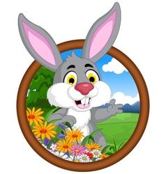 rabbit cartoon in frame vector image