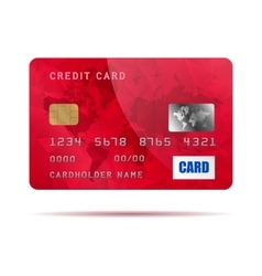 Red credit card icon realistic style vector image vector image