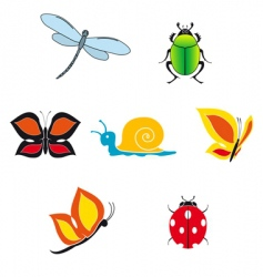 set of insect icons vector image vector image