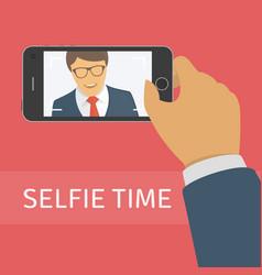taking selfie photo on smart phone vector image