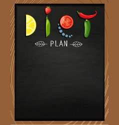 the concept of diet on the chalkboard vector image vector image