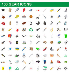 100 gear icons set cartoon style vector image