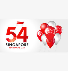 54 years singapore national day banner vector image