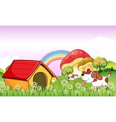 A doghouse near the weeds vector