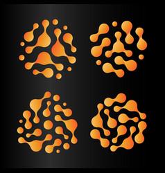 abstract sun icon set orange hot logos isolated vector image