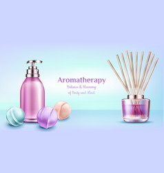 Aromatherapy spa treatment cosmetic beauty banner vector