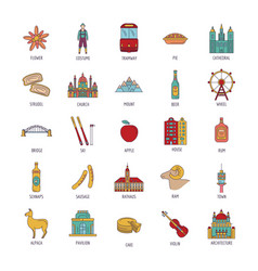 Austria icons set cartoon style vector