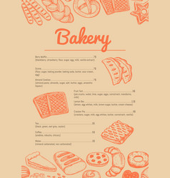 Bakery hand drawn price catalog vector