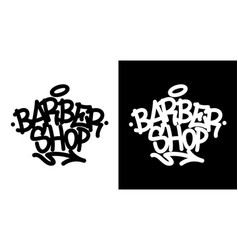 Barber shop graffiti tag in black over white and vector
