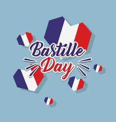 Bastille day celebration card with hearts and flag vector