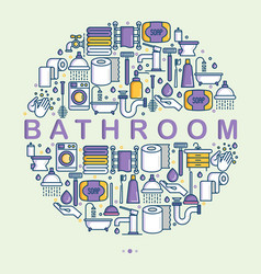 bathroom equipment concept in circle vector image