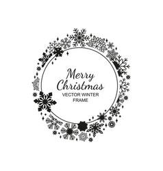 Black and white circle snowflake frame christmas vector