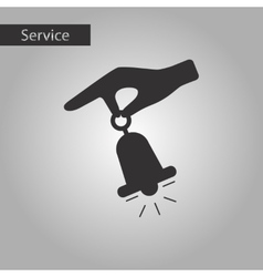 Black and white style hand bell vector