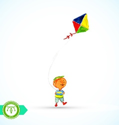 Boy with kite Watercolor vector image