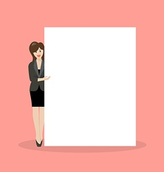 Business woman pointing to the billboard vector