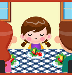 Cartoon cute little girl not want to eat vegetable vector