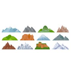 Cartoon mountains snowy mountain peak hill vector