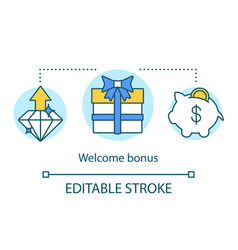 Casino welcome bonus concept icon gift presents vector