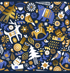 christmas gold luxry folk animal seamless pattern vector image
