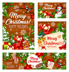 christmas holiday gifts on wooden background vector image