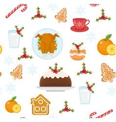 christmas seamless pattern with holiday food xmas vector image