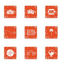 class icons set grunge style vector image