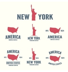 collection new york america usa icon or logo vector image