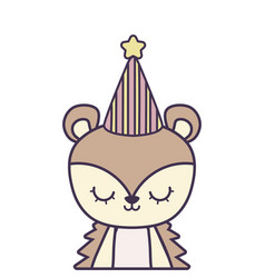 Cute porcupine animal with hat party vector