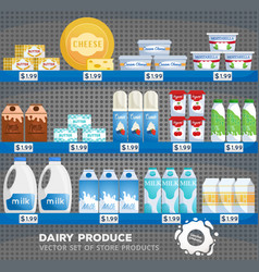 dairy products supermarket store with goods vector image
