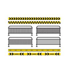 Danger tapes danger sign metal fence vector