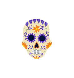 decorated skull for day dead flat vector image