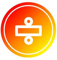 Division sign circular in hot gradient spectrum vector
