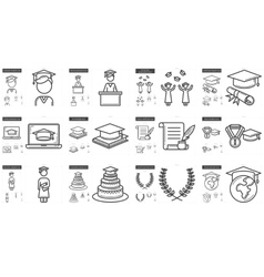 Education line icon set vector image