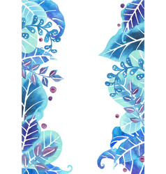 fantasy blue leaves garden watercolor border vector image