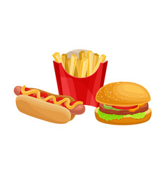 Fast food with hot dog and french fries isolated vector