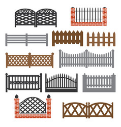 fence picket icon set vector image