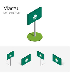 Flag of macau set of 3d isometric flat icons vector