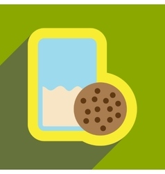 Flat icon with long shadow glass milk and cookies vector