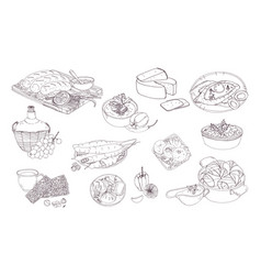 Georgian cuisine different dishes hand drawn vector