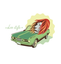 Green retro car and lion vector
