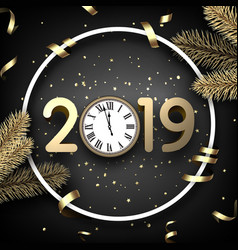 Grey 2019 happy new year card with gold clock and vector