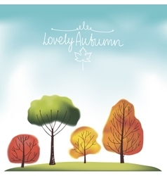 Group of autumn trees vector image