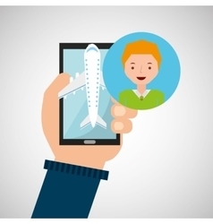 Guy blond hand holds mobile application travel vector