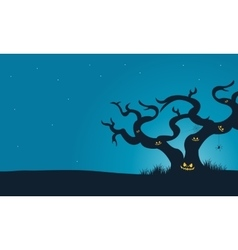 Halloween scary dry tree silhouette vector image