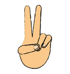 Hand making peace and love vector
