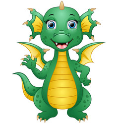 happy dragon cartoon waving hand vector image