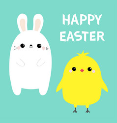 happy easter chicken bird bunny set white rabbit vector image