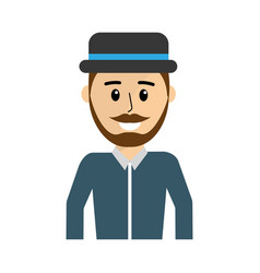 happy man wearing hat and shirt vector image